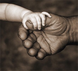 baby hands touching